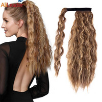 Synthetic Wigs Puff Corn Wavy Ponytail Wrap On Clip In Long Claw Short Hair