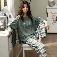 Home Clothes for Women Plaid Pants Pajamas for Women Cotton Sleepwear Autumn Pyjamas Women Pigiama Donna Plus Size Home Suit 210622