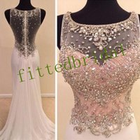 Chiffon Sexy Sparkly Long Prom Dresses Scoop Galajurken Sheer Back 2019 Crystal Beaded Sweep Train Formal Evening Party Gowns