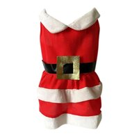 Dog Apparel Pet Lovely Festival Costume Christmas Santa Clothes For Girls, Red Warm Dress Small And Medium Dogs