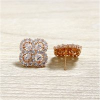 جديد تاج الزفاف مربط القرط 2020 جديد روز الذهب مقلد الماس الاشتباك مجوهرات جميلة حلقات الأذن الكريستال مع مربع مع ختم