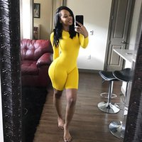 Fitness Casual Biker Playsuit Bodysuit Long Sleeve Neon Rompers Womens Jumpsuit Shorts Summer 2019 Bodycon Playsuits