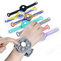 New Push Bubble Bracelet Simple dimple Fidget It Spinner Toys Silicone Wristband Hand Fidget Sensory Unzip Bracelets Antistress Wholesale