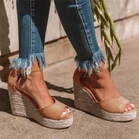 Womail Sandales Femmes Plate-forme Rétro Femmes Femmes Femmes Mesdames Peeep Toe Plateforme Fish Bouche Coines Boucle Roman Chaussures Causales Chaussures plates Chaussures de coin W25S #