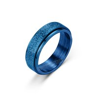 Titanium steel frosted ring can rotate and reduce pressure European American fashion stainless couple