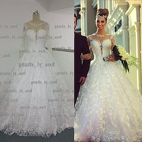 Real Image Wedding Dress 2015 Sheer Crew Neckline Ball Gown Lace Transparent Long Sleeve Court Train Bridal Dresses Actual Dhyz 0