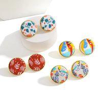 Garanhão aensoa design polímero polímero redondo impressão brinco para mulheres menina linda bonito pequeno brincos geométricos boho jóias
