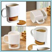 Mugs Drinkware Kitchen, Dining Bar & Gardenceramic Mug White Coffee Biscuits Milk Dessert Tea Cup Side Cookie Pockets Holder For Home Office
