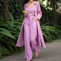 Women's Two Piece Pants Lady V Neck Tops + Long Cardigan Pocket 3 Sets Casual Loose Solid Suits Fashion Sleeve Shirt Outfits