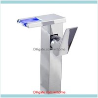 Faucets Faucets, Showers As & Gardesin Led Light Single Handle Modern Hydroelectric Power Temperature Color Changing Waterfall Bathroom Fauc