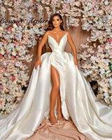 Other Wedding Dresses White Mermaid Bride Gowns With Detachable Cape Princess Party Dress 2021 Dubai Robe De Mariée