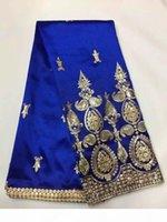 5 Yards PC Elegant Royal Blue George Spitze Stoff mit kleinen Gold Pailletten Stickerei Afrikanische Baumwollspitze Für Kleidung JG5-1
