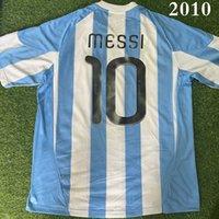 Top 2010 أرجنتيناس الرجعية لكرة القدم الفانيلة ميسي 10 دي ماريا 11 كون Agüero Riquelme Crespo Tevez Milito 2021 Futbol Shirt أطقم جودة Maradona Football Shirts Size S-XXL