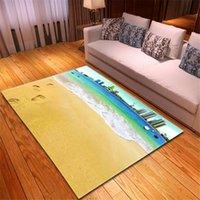 Carpets 3D Seascape Beach Area Rug Parlor Children Room Bedside Soft Flannel Kids Play Mats Living Carpet For Home Decor