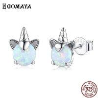 Gomaya 100 % 925 스털링 실버 유니콘 오팔 스터드 귀걸이 여성을위한 결혼식 작은 귀걸이 좋은 기념일 쥬얼리 210624