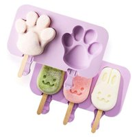 Silicone Ice Cream Mold Popsicle Molds DIY Homemade Cartoon Ice Cream Tubs Ice Maker Mould With 50 Wood Stick