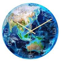 Wall Clocks Creative 3D Acrylic Luminous Earth Clock Planet Print Study Room Bedroom Living Decoration