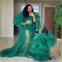 2021 Long Ruffle Tulle Evening Dresses Mother And Puffy Tiered High Low Skirt Dress for Kids Mommy & Me Wear Custom Made