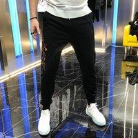 Automne 2021 Personnalité de la mode Perle Broderie Lettre Marque Mince Slim Corset Corsant Pantalon Casual Pour Hommes