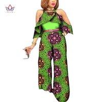 Etnik Giyim BinTarealwax Özel Kadın Tulumlar Dashiki Afrika Baskı Kolsuz Uzun Geniş Bacak Pantolon Afrika Stil Artı Boyutu WY2311