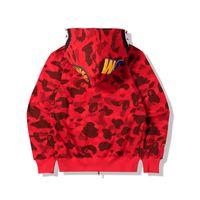 Neueste Liebhaber Camo Shark Print Baumwollpullover Hoodies Herren Casual Purple Red Casmo Strickjacke Mit Kapuze Jacke Größen M-2XL