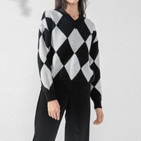 Women's Sweaters Fashion Diamond Plaid Knitted Sweater For Woman Autumn Casual V-Neck Pullover Loose Keep Warm Long Sleeve Tops Ladies
