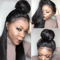 Brazilian Straight Wigs 4*4 Lace Closure Human Hair Wig Pre Plucked Hairline with Baby Hairs Adjustable Straps 1B#
