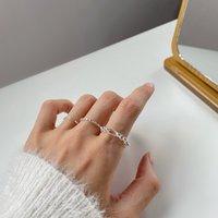 Anillo de tirón S925 de plata esterlina anillo de cadena ajustable para mujeres
