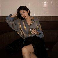 Deeptown Vintage Bayan Gömlek 2021 Zarif Kadın Bluzlar Kore Moda Düğme Yukarı Gömlek Katı Gevşek Uzun Kollu Gömlek Bayanlar