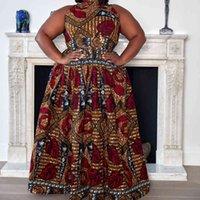 Roupas africanas 2021 Dashiki impressão festa de ombro fora das senhoras sling vestido África vestidos para mulheres Bazin Ankera Longo Robe # J30
