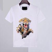 Новая мужская рубашка летние футболки Phillip Plain 100% хлопок печать животных круглые шеи повседневный стиль темпы мода мужчины с коротким рукавом