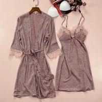 Women's Sleepwear Leopard Intimate Lingerie Women Sexy Kimono Robe Set Summer Bathrobe Gown Casual Nightwear Homewear