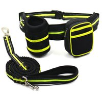 Dog Collars & Leashes Pet Reflective Stretch Running Traction Rope Belt Snack Bag Set Products Supplies