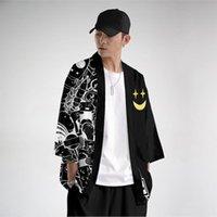 Ethnic Clothing Men Fashion Loose Black Print Yukata Cardigan And Pant Set Blouse Haori Obi Asian Clothes Harajuku Japanese Kimono