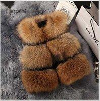 Осень зима мода женщины искусственный меховой жилет без рукавов меховые жилеты Femme Wasecoat FengGuilai Y0829