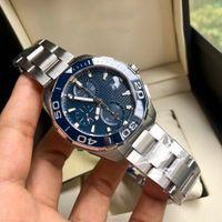 Mäns Timing Mechanical Watch Utrustad med Original Swiss 7750 Rörelsestorlek 43 mm 316 Fint stålfall Rotera den keramiska ringen vattentät till ett djup på 300 meter