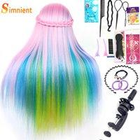 70cm Coloré Long Synthetic Fibre Cheveux pour la coiffure Mannequin Tête de coiffure avec des coiffures Brad Brad Hair Coiffe Tête d'entraînement