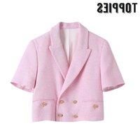 Mulheres Casacos Mulheres Rosa Toppies Tweed Casaco Primavera Verão de Manga Curta Casacos Dupla Breasted Terno Design Jacket