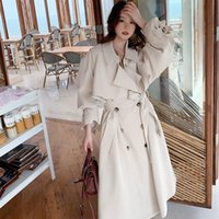 Abrigo de zanjas de gran tamaño de primavera para mujeres 2022 fashas de manga doble pecho suelta ropa clásica