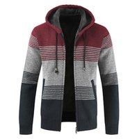 Casaco de camisola masculina primavera outono homens coloremblock hooded listra casaco de espessura zíper lã camisola slim-fit cardigan jumpers macho