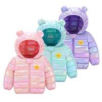 Cute Children Down Padded Jacket Baby Boy Girl Flower Winter Thicken Parkas Kids Colorful Clothes Hoodie Warm&waterproof Outwear 210916