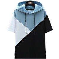 Men's Hoodies & Sweatshirts 2021 Summer T-shirts Hip Hop Hoodie Casual Short Sleeve Stitching Style Distribution O-Neck Hooded Sweatshirt T-