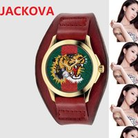 Fashion Famous brand watches women men bee snake tiger pattern nylon fabric leather belt sports Quartz Movement Couples Style Classic Wristwatches gift