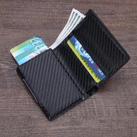 Card Holders Anti Rfid Id Holder Case Men Leather Metal Wallet Male Coin Purse Women Mini Carbon With Zipper