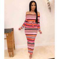 Casual Dresses Long Sleeve Off Shoulder Autumn Elegant Color Stripe Print Dress Women Waist Strap Midi Party Clothing SHHJ