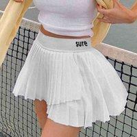 Kawaii Mektup Baskılı Y2K Mini Etek Kadınlar Için Yaz Kore Moda Yüksek Belli Düzensiz Etek Pileli Etekler Beyaz Kısa 210415
