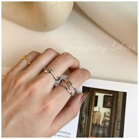 Ins Korean Style S925 Sterling Silver Cross Line Net Wide Ring Irregular Wavy Smooth Minimalist Nuo1