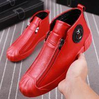 Yüksek Üst Ayakkabı Erkek Sütürler Çift Güvenlik Ünlü Rahat Ayakkabılar Moda Erkek Martin Ayakkabı Kırmızı Kadife Yan Fermuar Kurulu Ayakkabı V1.17