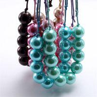 Filles Filles Chunky Pearl Perles Collier Enfants Enfant Collier Bubblegum Collier réglable Bijoux de corde pour cadeau d'anniversaire 1113 Y2