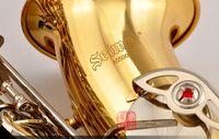 جودة عالية سوبر العمل كونسلير AS500 ساكسفون الذهب الفضي مفتاح ألتو كامل زهرة eb لحن نموذج e شقة ساكس مع القصب القضية لسان حال